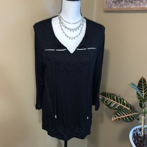 Rafaella NWT S Black 3/4 embroidered knit blouse